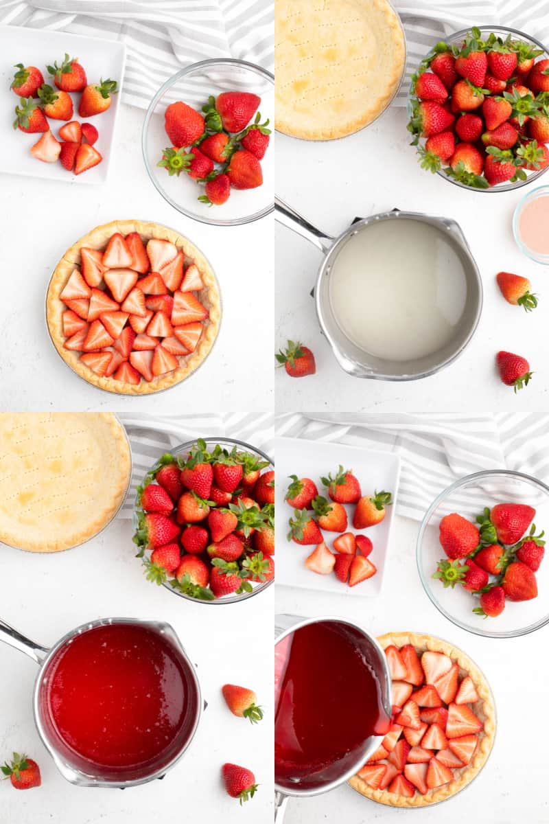 collage of strawberries in a pie crust, simple syrup mixture in a sauce pan, jello mixture in a saucepan, jello mixture being poured over strawberries in the pie crust