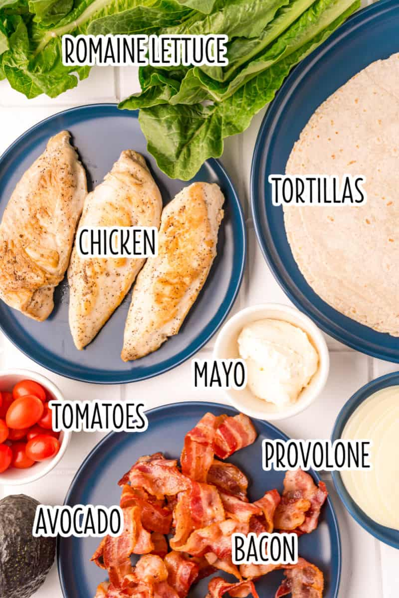 bacon avocado chicken wrap ingredients with text labels