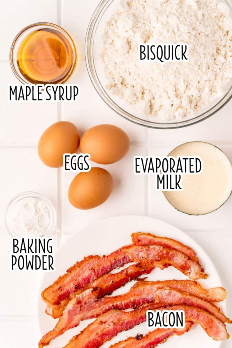 ingredients to make bacon pancakes laid out with text labels