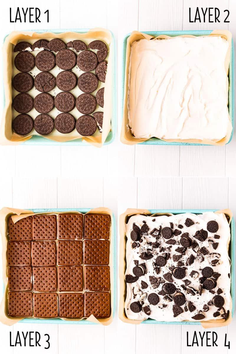 colalge image of layering steps fro oreo ice cream sandwich cake
