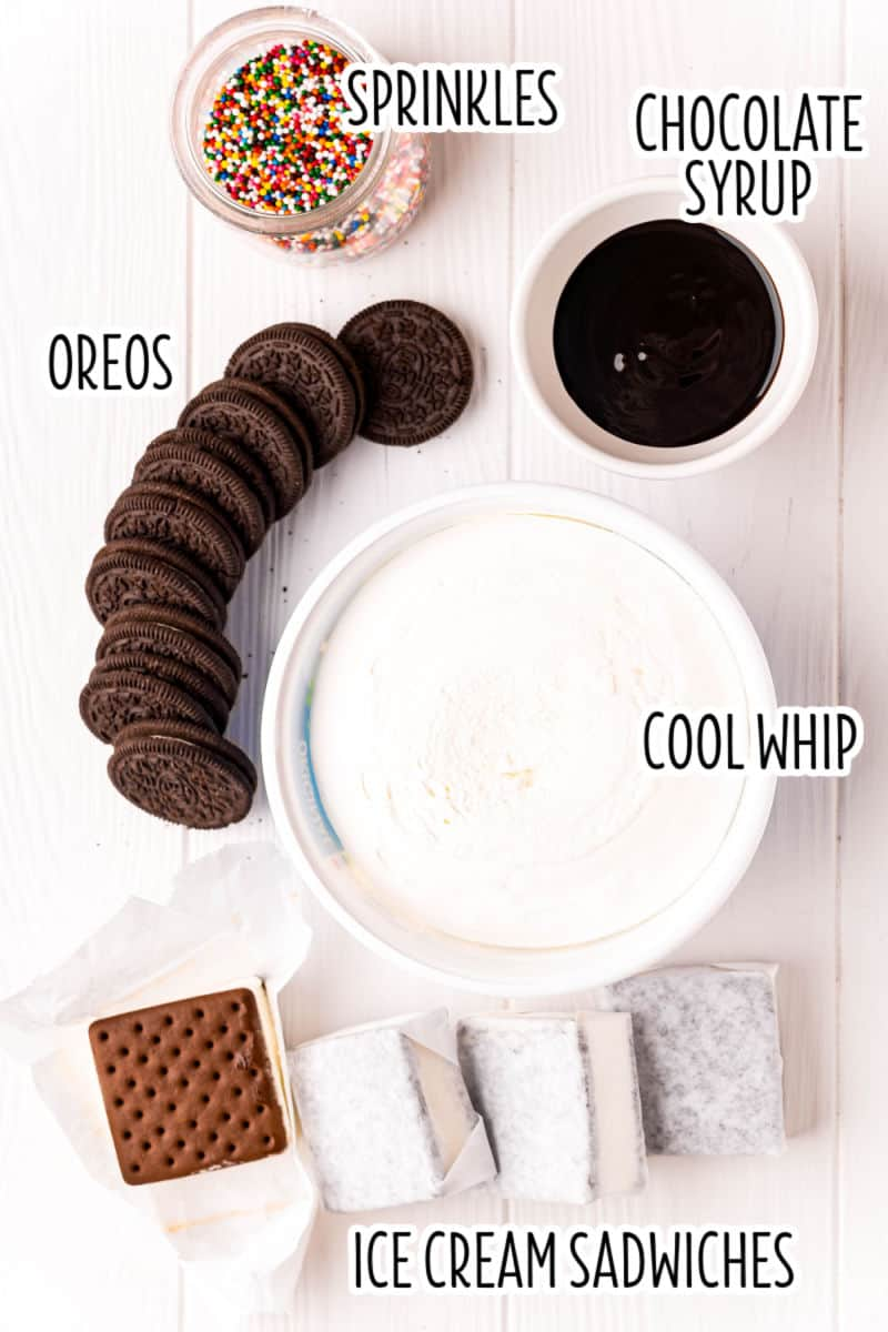 ingredients to make oreo ice cream sandwich cake laid out with text labels