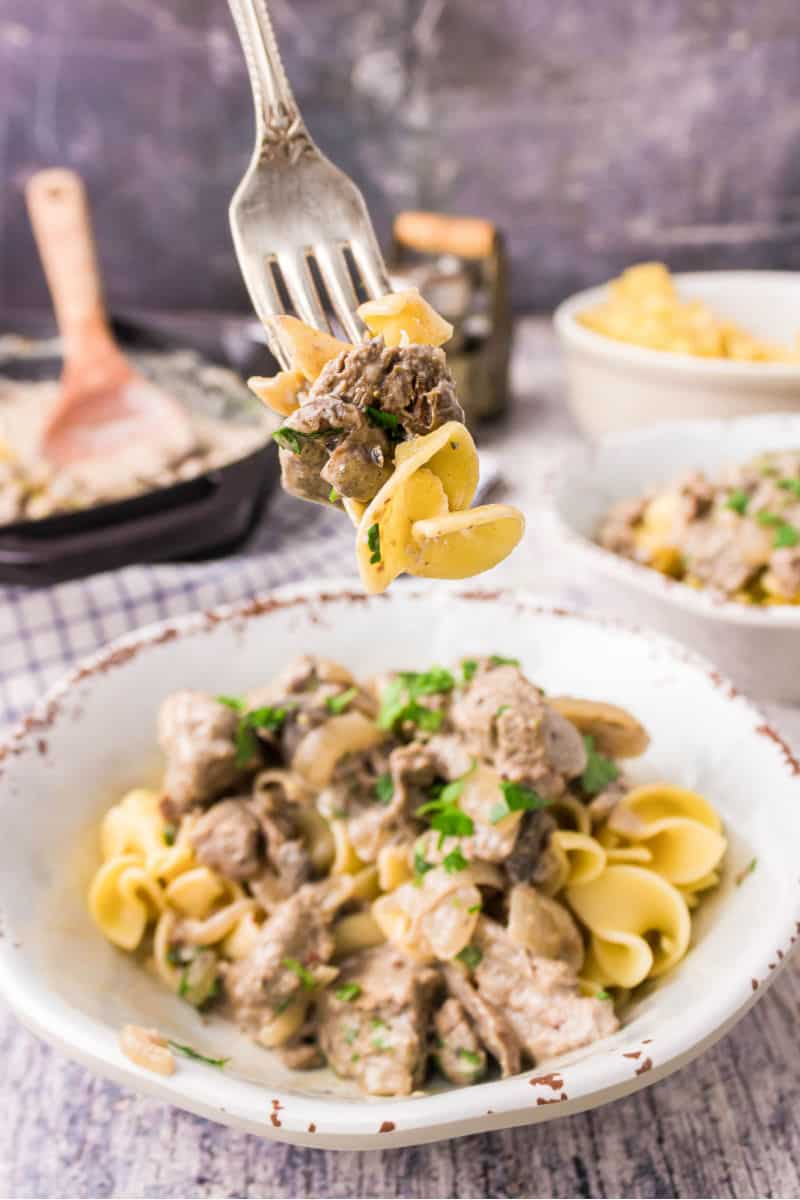 forkful of beef stroganoff and egg noodles over the plate