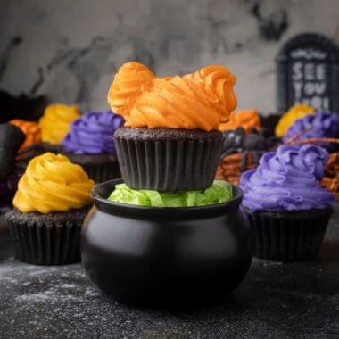 square image of Hocus Pocus chocolate cupcakes for Halloween