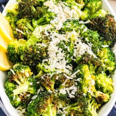 square close up image of lemon parmesan air fryer broccoli